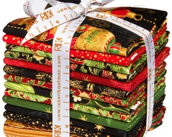 Peggy Toole Holiday Flourish Christmas Eve fat quarter bundle 12 pieces + 1 panel Robert Kaufman