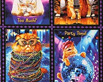 "Party Time Celebration 24"" cats fabric panel Robert Kaufman AVT-15649-203"