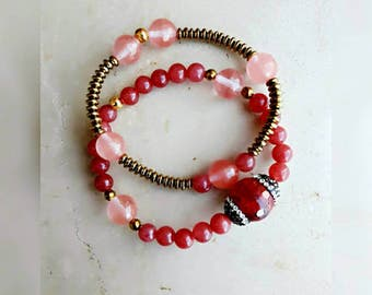 Beaded bracelets, gemstone jewelry bracelets, pink jewelry for women, elastic bracelets, multiple bracelets, everyday bracelets gift for her