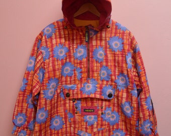 Vintage Woman 1/4 zip Head Pacific Island Hoodie fancy color small size Excellent condition