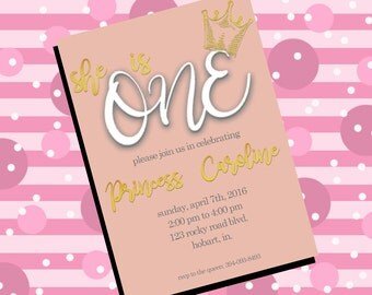 First Birthday Princess Invitation