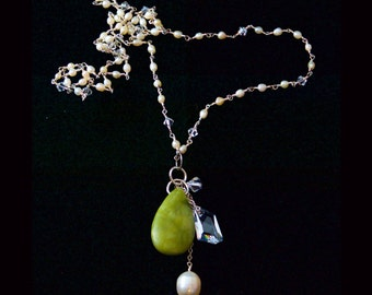 Long Swarovski Crystal & Seed Pearl Necklace with Jade, Crystal and Pearl Pendant