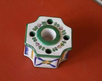 Discounted, Antique French Porcelain Inkwell, Limoges, Aladin Factory France Octagonal, hand painted, a rare find.