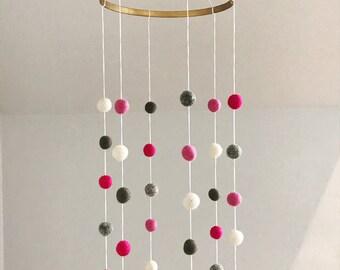 Felt Ball Cot Mobile - Pinks & Greys