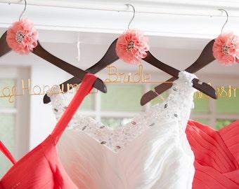 3 Pcs Set - Bride, Bridesmaid, Maid of Honour Bridal gift wedding coat hangers