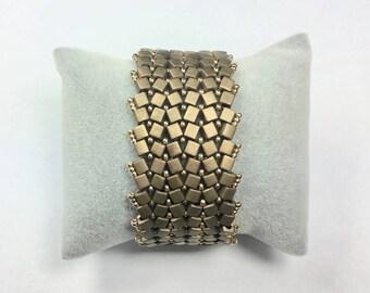 Cubes Miyuki bronze and gold Cuff Bracelet
