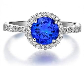Ceylon Blue sapphire halo engagement ring,1 Carat Round Blue Sapphire Engagement Ring in 18k White Gold.Genuine Blue sapphire ring