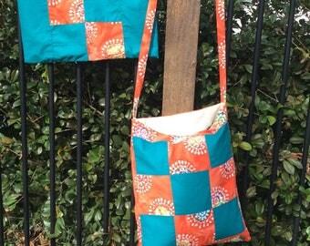 Patchwork Blue and Red Market Bag