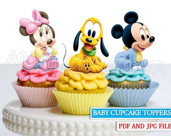 Mickey cupcake toppers, Minnie cupcake toppers, pluto cupcake toppers, Disney Baby, party printables,  DIGITAL FILE