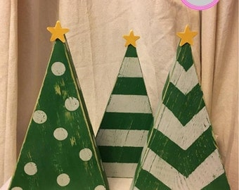 wood christmas trees rustic christmas trees christmas tree chevron polka dots - Wooden Christmas Tree