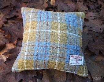 Handmade Mustard & Blue Harris Tweed Cushion 30x30 cm