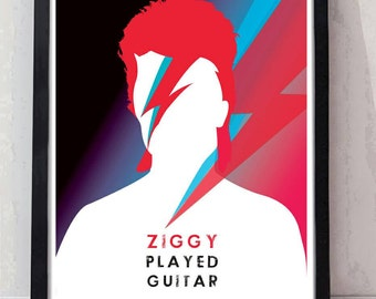 Ziggy played guitar artist hand drawn and digitally coloured tribute print. A4 personalised available. Unframed.