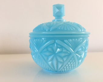 Sugar Bowl in turquoise opaline