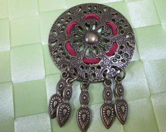 "1 piece in 3 1/4"" length x 2 1/4"" width with bronze fringe applique for your sewing project."