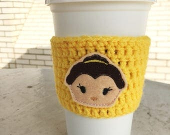 Crochet Coffee Cozy, reusable to go cup cozy, to go cup sleeve, to go coffee sleeve, Coffee Lover gift for her, Belle-inspired Princess