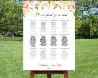 Wedding Seating Chart , Rustic Seating Plan Pink Peonies and Roses,  Watercolor Floral Guest Seating Chart, Romantic Mariage Seating Chart