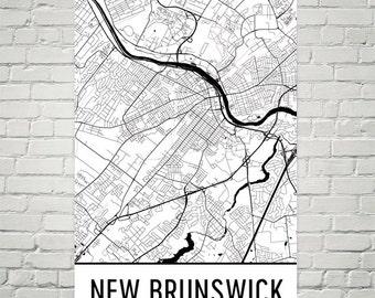 New Brunswick Map, New Brunswick Art, New Brunswick Print, New Brunswick NJ Art Poster, New Brunswick Wall Art, Map of New Brunswick, Gift