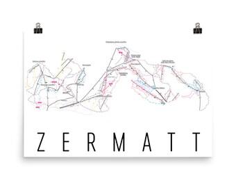 Zermatt Ski Map Art, Zermatt Switzerland, Swiss, Zermatt Trail Map, Alps, Winter Sports, Mountain, Swiss Alps, Snowboarding Gifts, Cabin Art
