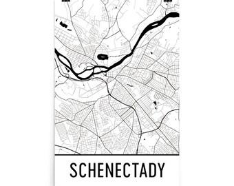 Schenectady Map, Schenectady Art, Schenectady Print, Schenectady NY Poster, Schenectady Wall Art, Map of Schenectady, Gift, Decor, Map Art