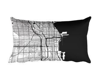 Chicago Pillow, Chicago Decor, Chicago Throw Pillow, Chicago Map, Chicago Art, Chicago IL, Chicago Illinois, Map of Chicago, Cushion, Map