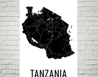 Tanzania Map, Tanzania Art, Map of Tanzania, Tanzanian Decor, Tanzania Gift, Tanzania Print, Tanzania Poster, Tanzania Wall Art, Tanzanian