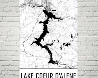 Lake Coeur D'Alene Idaho, Lake Coeur D'Alene ID, Idaho Map, Idaho Decor, Lake Map, Coeur D'Alene Lake Art, Art, Cottage Decor, Coeur D'Alene