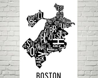 Boston Wall Art boston map boston art boston wall art city heart map