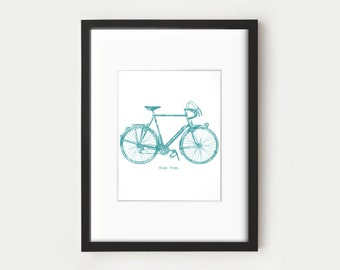 Turquoise and White Bike Printable Art, Illustration - Blue Vintage Bicycle and Free Ride Quote Art Poster for Wall Decor - 8x10 Artwork