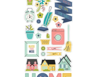 """Domestic Bliss Chipboard Stickers - 6X12"""" - Carpe Diem"""