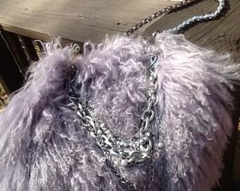 Plush Lavender Faux Shag Fur & Bicycle chain handbag