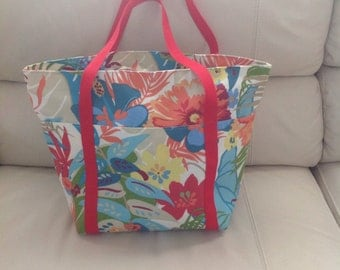 Tropical Flowers Beach Bag/Travel Tote
