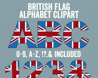 British Flag Alphabet Clipart, British Letters Clip art, ABC Britain party Clipart, Commercial Use, British themed alphabet letters clip art