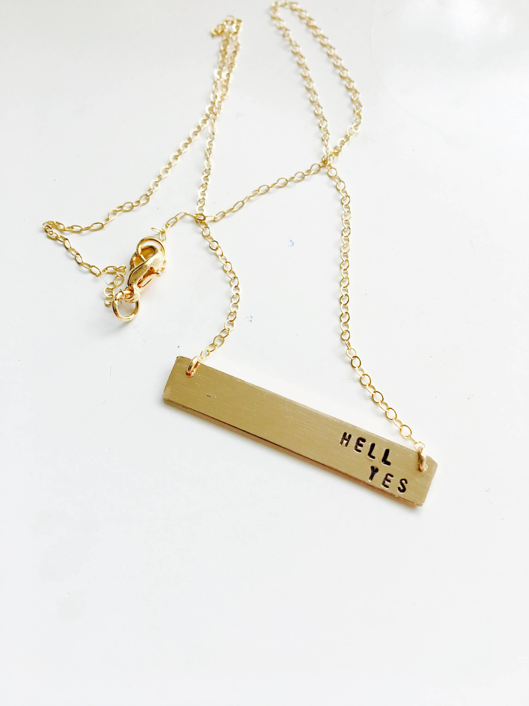 Hell Yeah// Gold Fill Bar Necklace// gold bar jewelry// sterling bar necklace// inspirational jewelry// hand stamped// womens jewelry