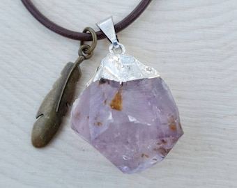 Amethyst Stone and Feather Pendant Necklace