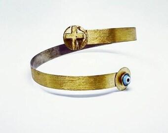 Bronze armlet, Armband, Arm bracelet, Upper arm cuff, Bronze jewelry, Handmade jewelry, Evil eye jewelry!