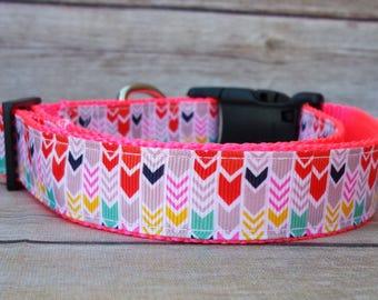 "Arrows Collar / Aztec Dog / Tribal Collar / 1"" One Inch / Leash / Ribbon & Nylon Webbing / Girl Dog / Pink White Dog / Medium Large Dog"