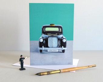 Black London Taxi card, black cab card, london taxi card, london cab card, london cards, diecast toys, vintage toys - BEST OF BRITISH