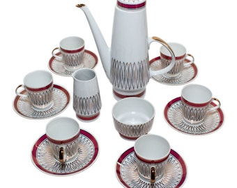 Fine China Lichte Porzellan coffee set, Germany, 60s