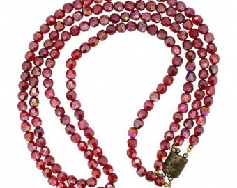 1950s Red Glass Two String Bead Vintage Necklace