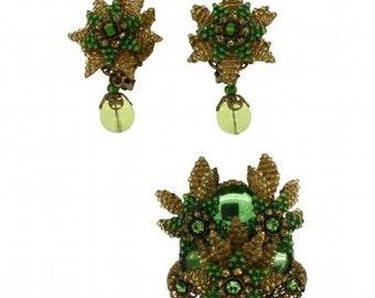 Stanley Hagler 1980s Green Floral Vintage Jewellery Set