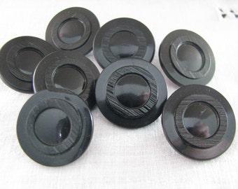 SALE Set 8 Vintage Black Plastic Buttons