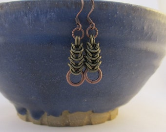 Mixed Metal Chain Mail Earrings