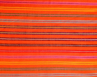 Mexican Fabric Orange Color and Stripes Cambaya Sarape Ethnic Zarape Colorful Stripes By the Yard