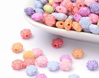 50 pc Mixed Color Flower Acrylic Beads 7.5x5mm