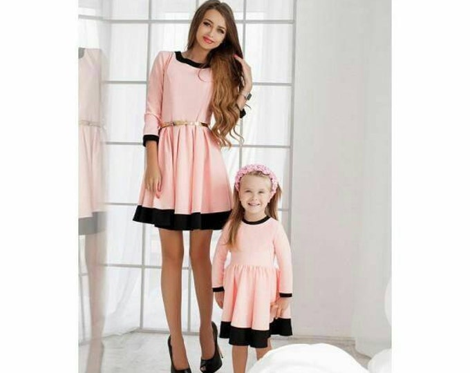 Mother daughter matching mini jacquard dress, 5 colours, Mom daughter dress, mommy and me dress, Family look dress, daughter mother dress
