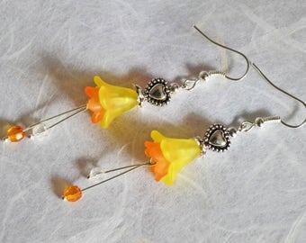 Daffodil Flower Earrings, Love Heart Earrings, Limited Edition - Spring