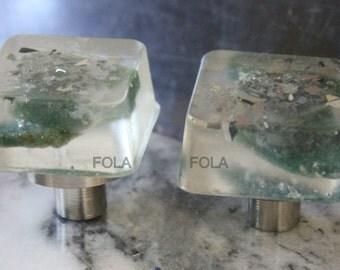 Square Unique Transparent Epoxy Resin Agate Gemstone Kitchen Cabinet Knob Pull Handle Drawer Door