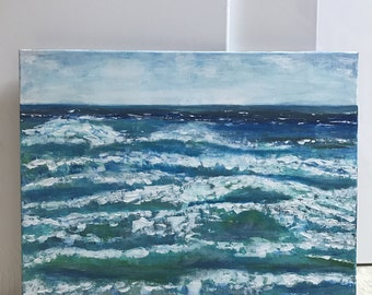 Wave Rush Nautical decor beach decor nautical wall decor office decor living room decor landscape seascape ocean waves art Original painting