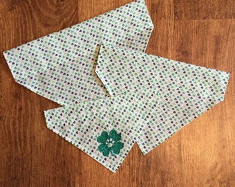 Saint Patrick's Day Clovers (Glitter) Over the Collar Bandana