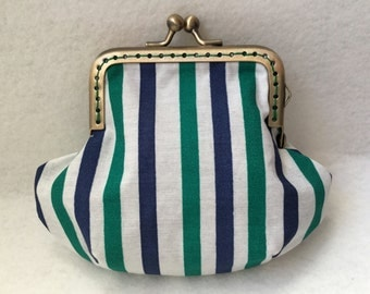 Wallet in Navy Blue, green and white - Ref. PM07 striped cotton fabric